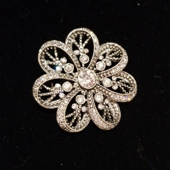 Pin, brooch silver and rhinestones